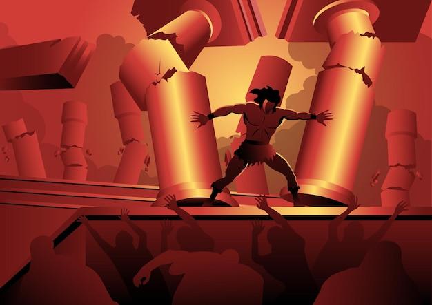 Een illustratie van simson die tussen de pilaren van de tempel staat en ze uit elkaar duwt. bijbelse serie