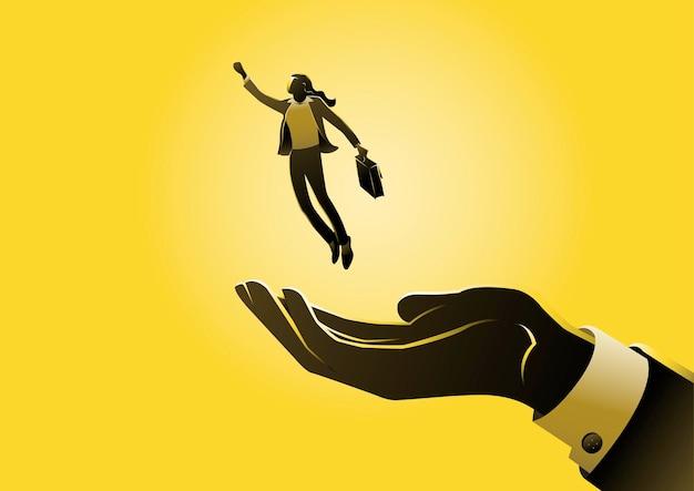 Een illustratie van zakenvrouw vliegen uit de hand - concept zakelijke kans