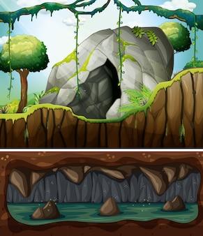 Een ingang van een grot en een ondergrondse scène