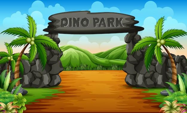 Een ingang van het dino-park