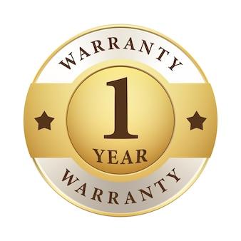 Een jaar garantie badge goud zilver metallic