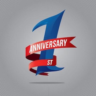 Een jaar jubileumfeest logo. 1ste verjaardag logo