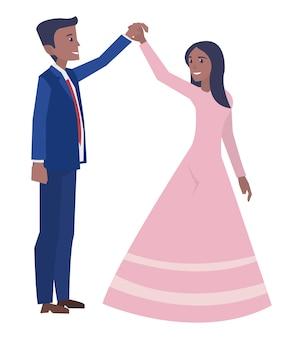 Een jong getrouwd paar dat in de huwelijksceremonie danst
