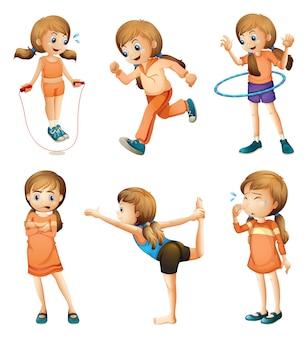 Een jong meisje dat haar dagelijkse routine doet