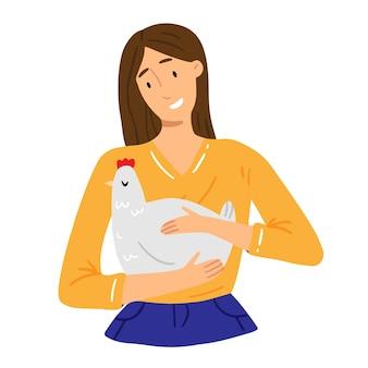 Een jong meisje houdt een kip in haar handen en lacht illustratie over het thema veganisme