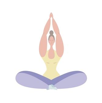 Een jong meisje mediteert in de lotushouding