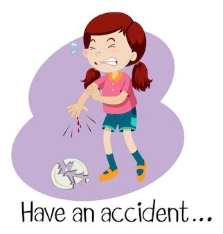 Een jong meisje met een ongeluk