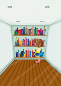 Een jong meisje voor de boekenkast met boeken