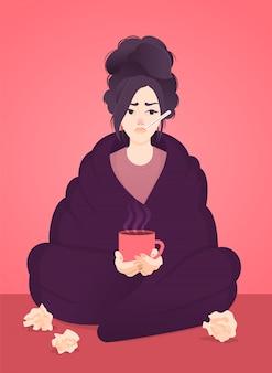 Een jong ziek meisje met temperatuur