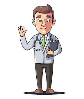 Een jonge dokter zwaait met zijn hand en houdt een tablet vast.