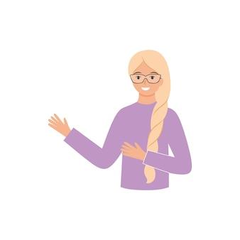 Een jonge leraar met een bril legt een nieuw onderwerp uit. mensen met gezichtsuitdrukkingen en gebaren. vector plat vrouwelijk karakter