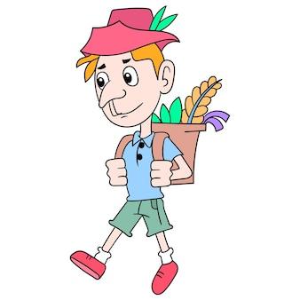 Een jonge man die loopt met een mand op zijn rug gevuld met planten uit het wild om toverdrankjes te maken, vectorillustratiekunst doodle pictogram afbeelding kawaii.