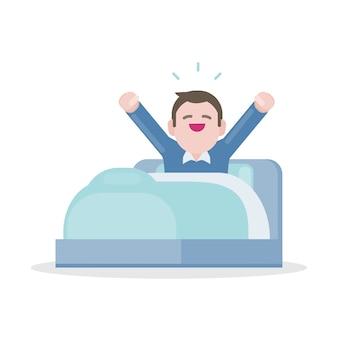 Een jonge man die 's ochtends wakker wordt