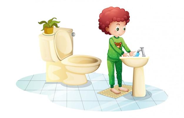 Een jonge man die zijn handen wast