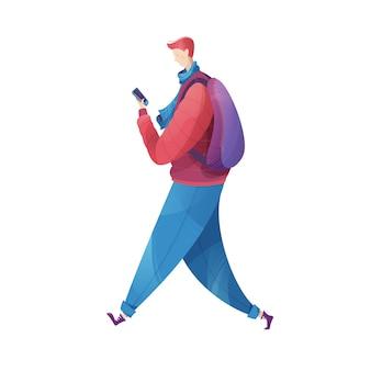 Een jonge man gaat met een mobiele telefoon in zijn hand