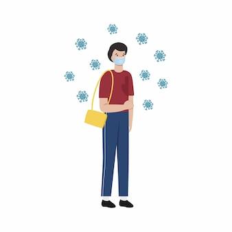 Een jonge man is ziek met covid 19 coronavirus. vectorillustratie in vlakke stijl. de epidemie is het coronavirus en veiligheidsmaatregelen.