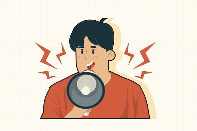 Een jonge man met een megafoon en kondigt vooraanzicht aan