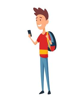 Een jonge man met smartphone en rugzak.