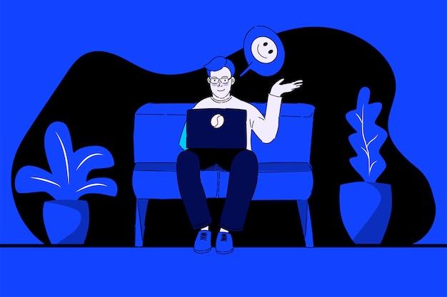 Een jonge man praat via een videogesprek. werk vanuit huis. vectorillustratie in moderne lineaire stijl.