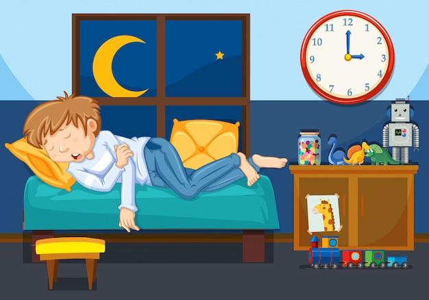 Een jonge man slaapt in de slaapkamer