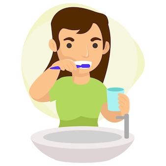 Een jonge moeder poetst haar tanden elke keer dat ze 's nachts wil slapen. perfecte graphics voor landingspagina's, websites en mobiele apps