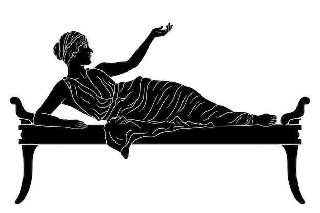 Een jonge oude griekse vrouw ligt op het bed en gebaren geïsoleerd op een witte achtergrond.