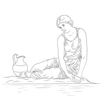 Een jonge oude griekse vrouw zit aan de oever van de rivier met een kom en verzamelt water in een kruik figuur geïsoleerd op witte achtergrond
