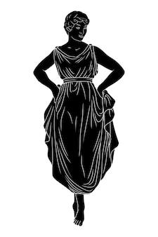 Een jonge slanke vrouw in een jurk staat op haar tenen en danst.