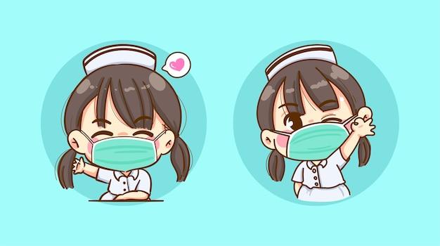 Een jonge verpleegster die een griepmasker draagt en een zwaaiende hand of groet