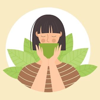 Een jonge vrouw drinkt thee uit een kopje. japanse traditiesceremonie, matcha-thee, groene thee. gezondheid en harmonie concept. vlakke afbeelding