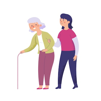Een jonge vrouw helpt vrijwillig een oude oma met een wandelstok lopen