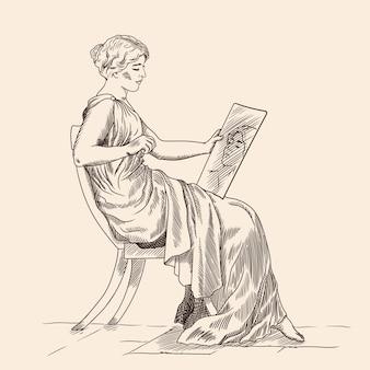 Een jonge vrouw in een oude griekse tuniek die op een stoel zit en naar zijn spiegelbeeld in de spiegel kijkt. geïsoleerd op beige.