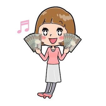 Een jonge vrouw in roze kleren met bankbiljetten