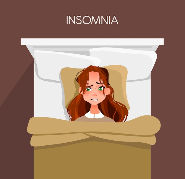 Een jonge vrouw kan niet in slaap vallen. slapeloosheid.