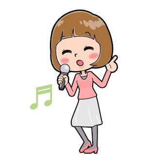 Een jonge vrouw met een gebaar van song singing. stripfiguur.