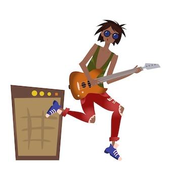 Een jonge zwarte man die gitaar speelt. rock artiest.