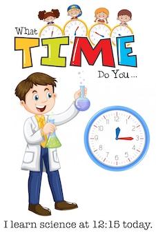 Een jongeman leert om 12:15 uur wetenschap