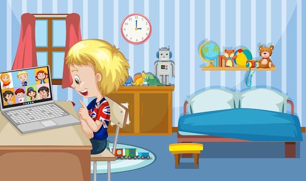 Een jongen communiceert videoconferentie met vrienden in de slaapkamerscène