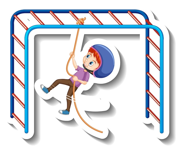 Een jongen die aan touw hangt cartoon sticker