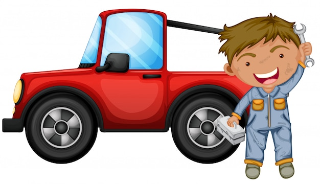 Een jongen die de rode jeep repareert