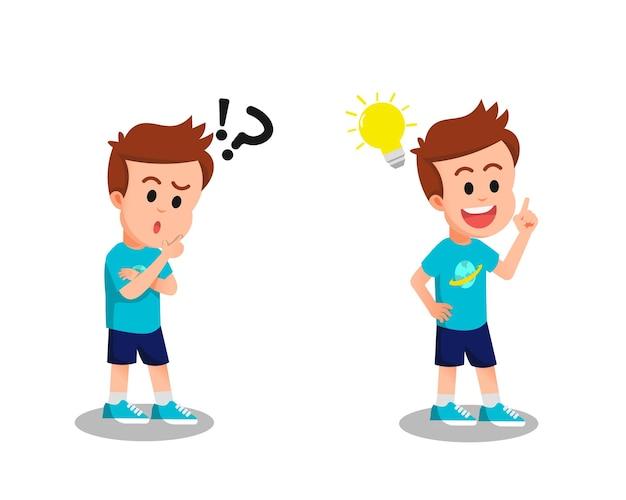 Een jongen die denkt en op zoek is naar ideeën