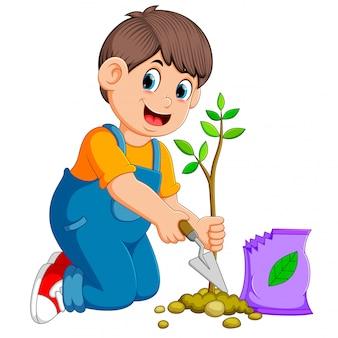 Een jongen die een groene jonge plant met meststof plant