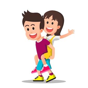 Een jongen die een klein meisje op zijn rug draagt