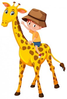Een jongen die giraf berijdt