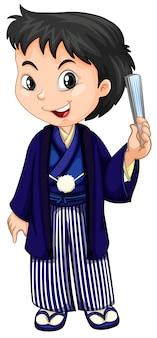 Een jongen die Japanse traditionele yukata draagt