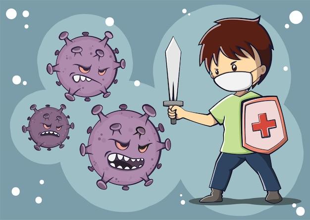 Een jongen die masker draagt die de illustratie van het coronavirus bestrijdt