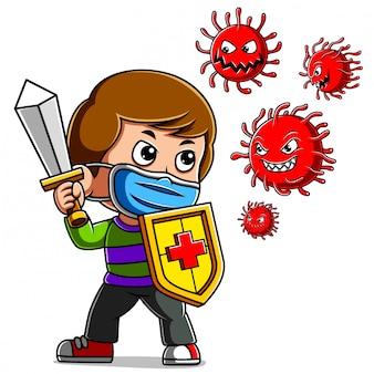 Een jongen die maskercoronavirus draagt. zwaard en schild