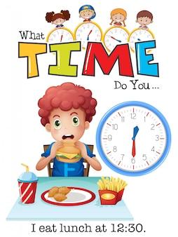 Een jongen die middageten eet om 12.30 uur