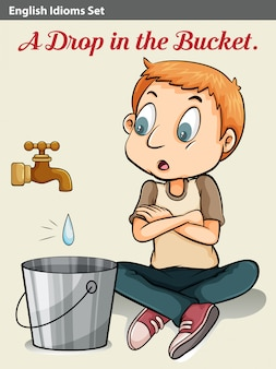 Een jongen die naar de druppel water kijkt