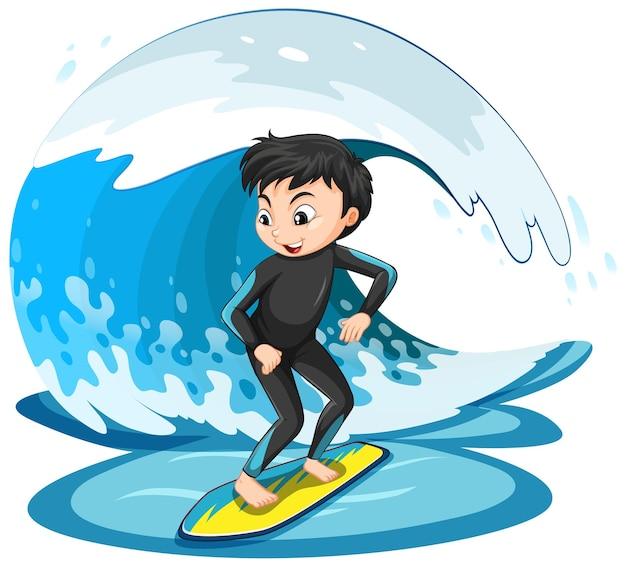 Een jongen die op een geïsoleerde watergolf surft